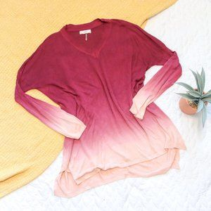 entro •Maroon Pink Ombre Long V-Neck Sweater